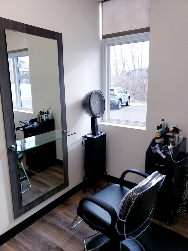 Chair, hair dryer, and mirror